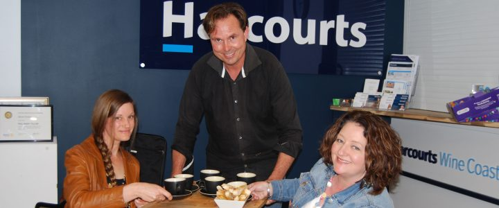 Mark Potter from Meeting Place McLaren Vale serves soup to guest speaker Cathy Domoney (right) and Jodi Van Der Linden.